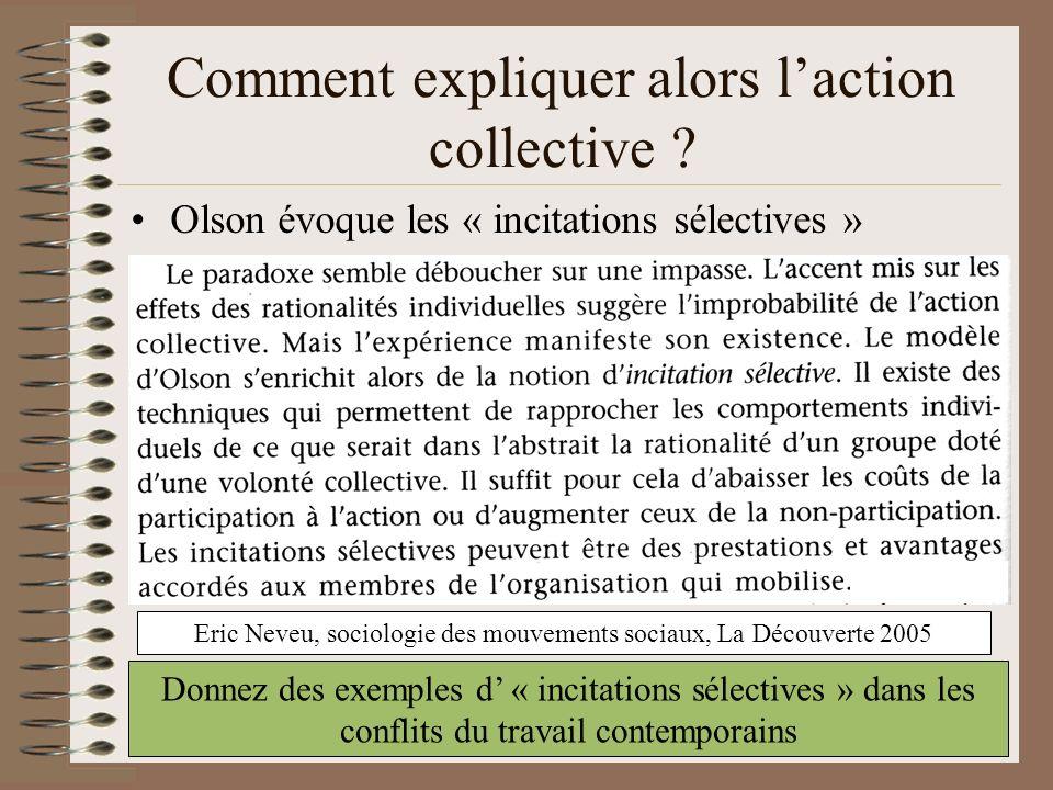 Comment expliquer alors l'action collective