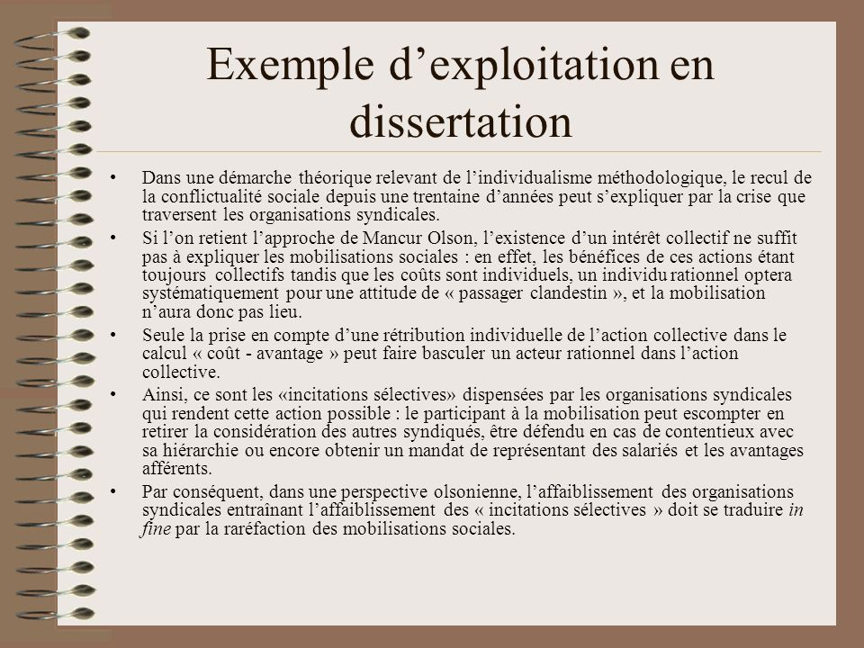 Exemple d'exploitation en dissertation