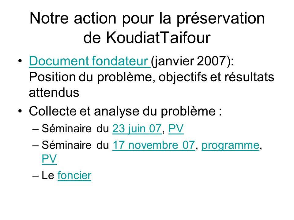 Notre action pour la préservation de KoudiatTaifour