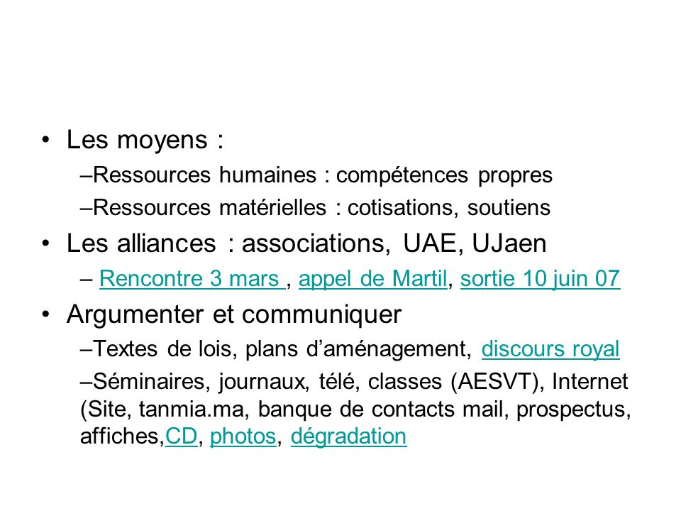 Les alliances : associations, UAE, UJaen Argumenter et communiquer