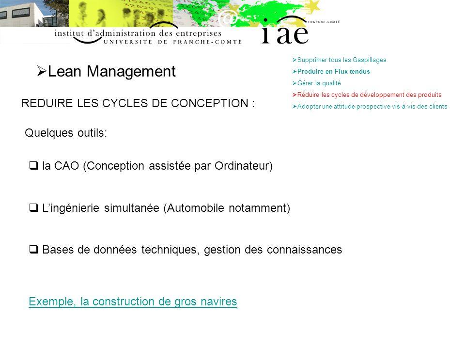 Lean Management REDUIRE LES CYCLES DE CONCEPTION : Quelques outils: