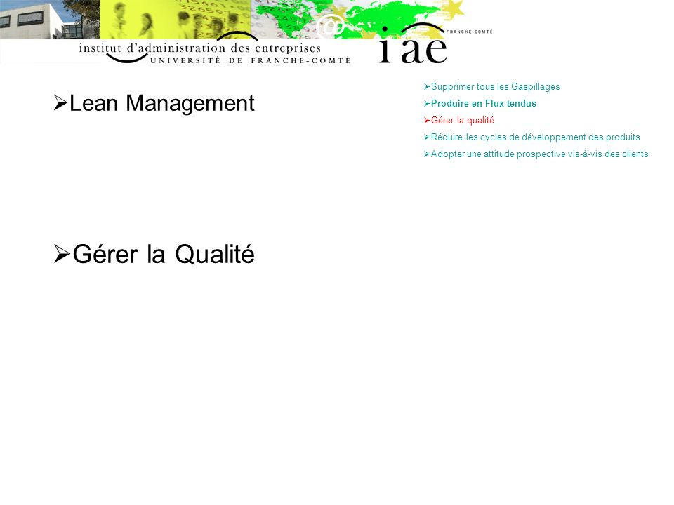 Gérer la Qualité Lean Management Supprimer tous les Gaspillages