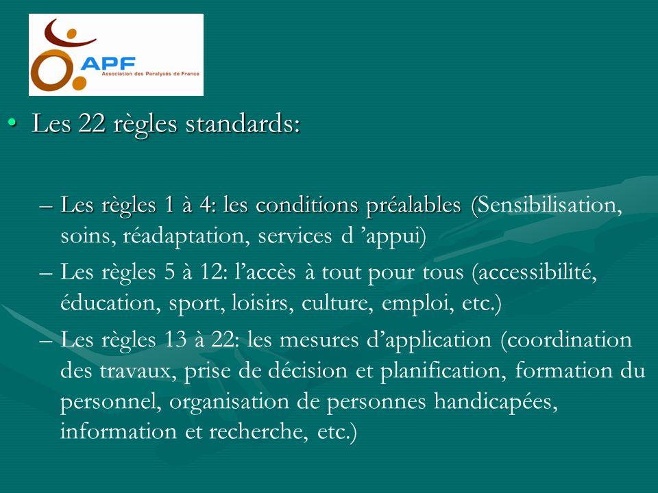 Les 22 règles standards: Les règles 1 à 4: les conditions préalables (Sensibilisation, soins, réadaptation, services d 'appui)