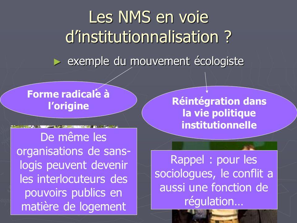 Les NMS en voie d'institutionnalisation