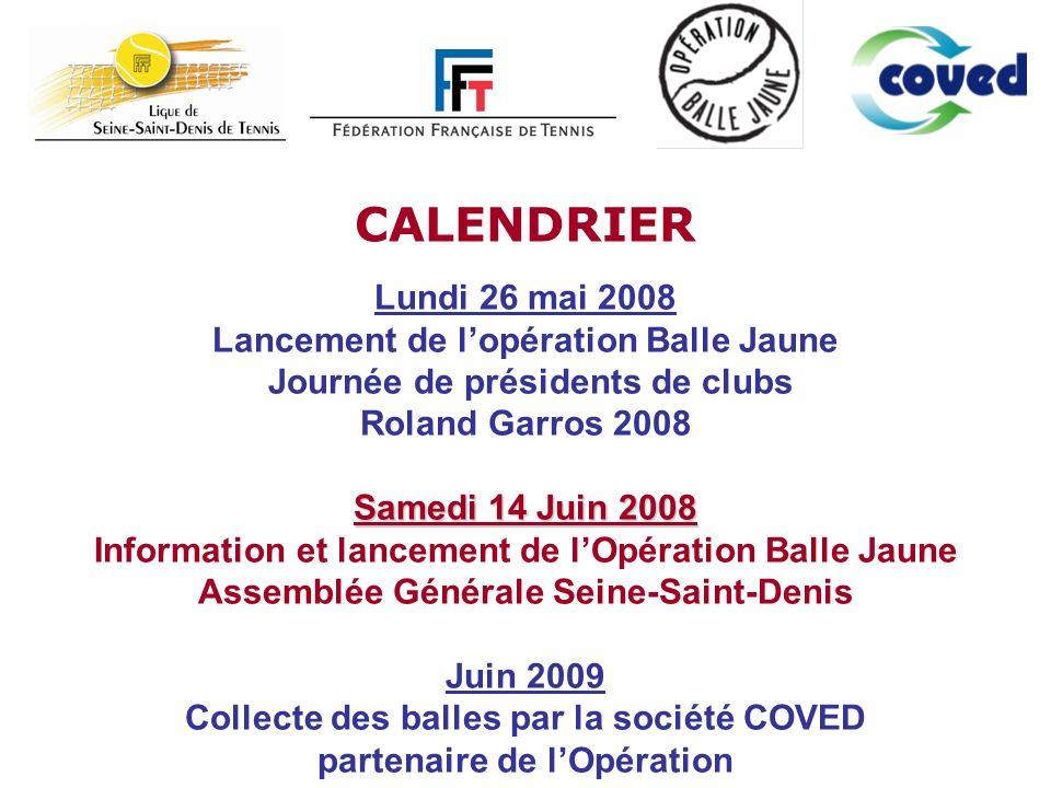 CALENDRIER Lundi 26 mai 2008 Lancement de l'opération Balle Jaune Journée de présidents de clubs.