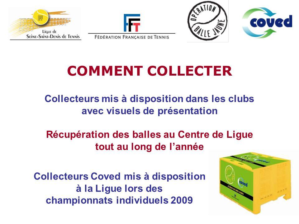 COMMENT COLLECTER Collecteurs mis à disposition dans les clubs
