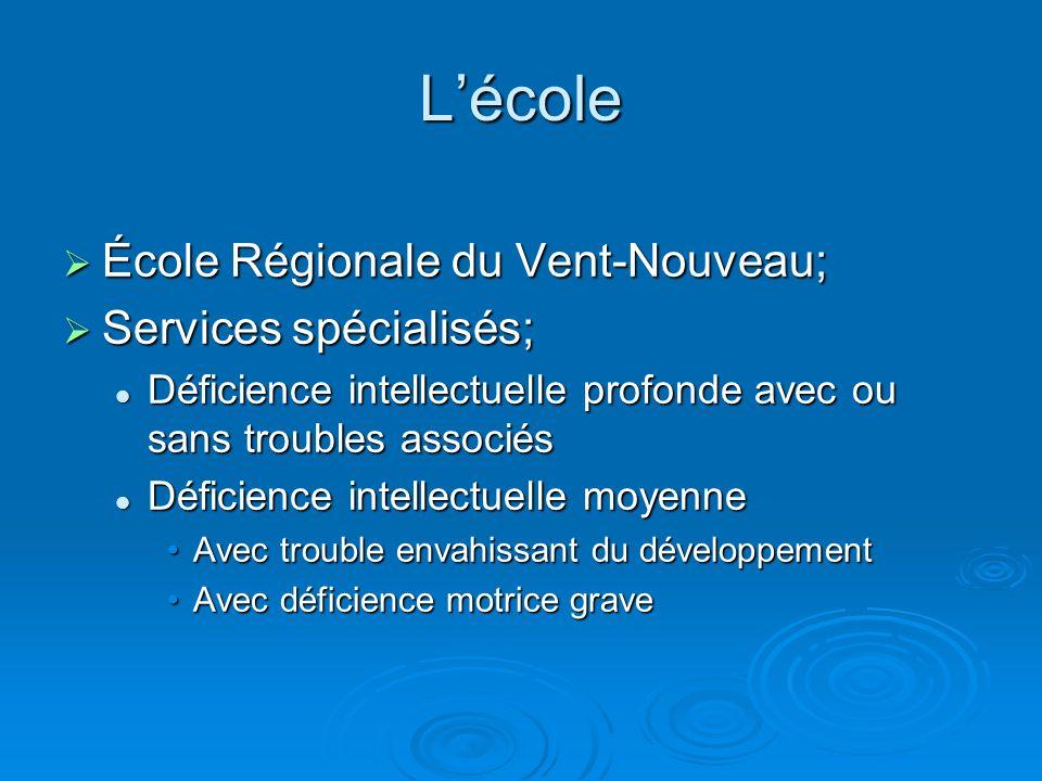 L'école École Régionale du Vent-Nouveau; Services spécialisés;
