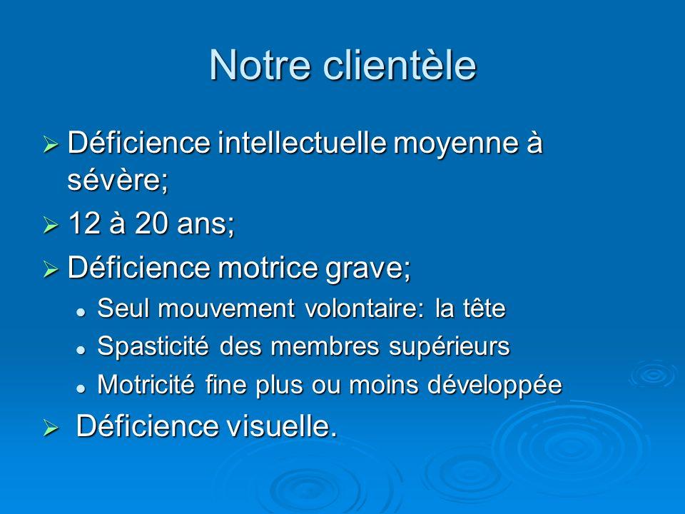 Notre clientèle Déficience intellectuelle moyenne à sévère;