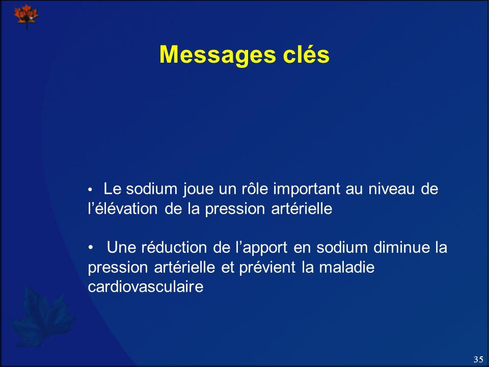 Messages clés Le sodium joue un rôle important au niveau de l'élévation de la pression artérielle.