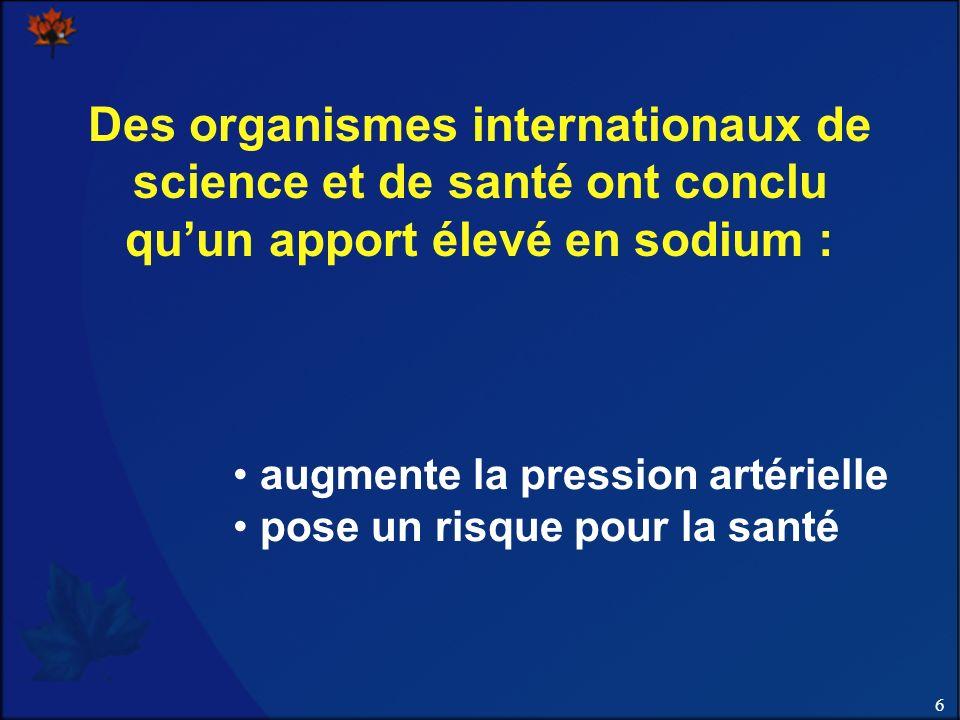Des organismes internationaux de science et de santé ont conclu qu'un apport élevé en sodium :