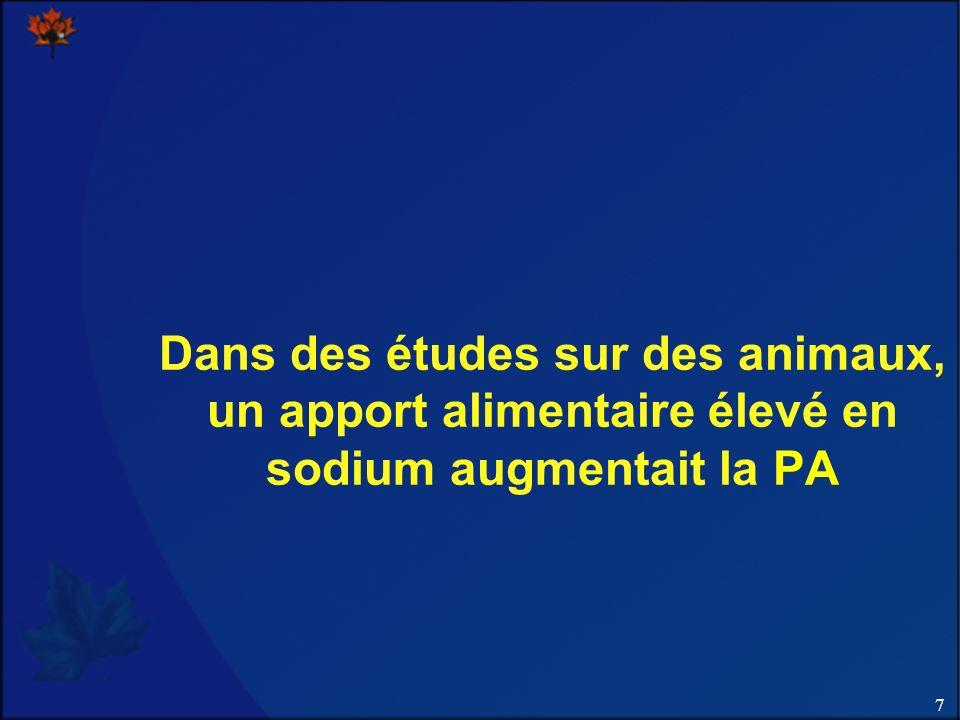 Dans des études sur des animaux, un apport alimentaire élevé en sodium augmentait la PA