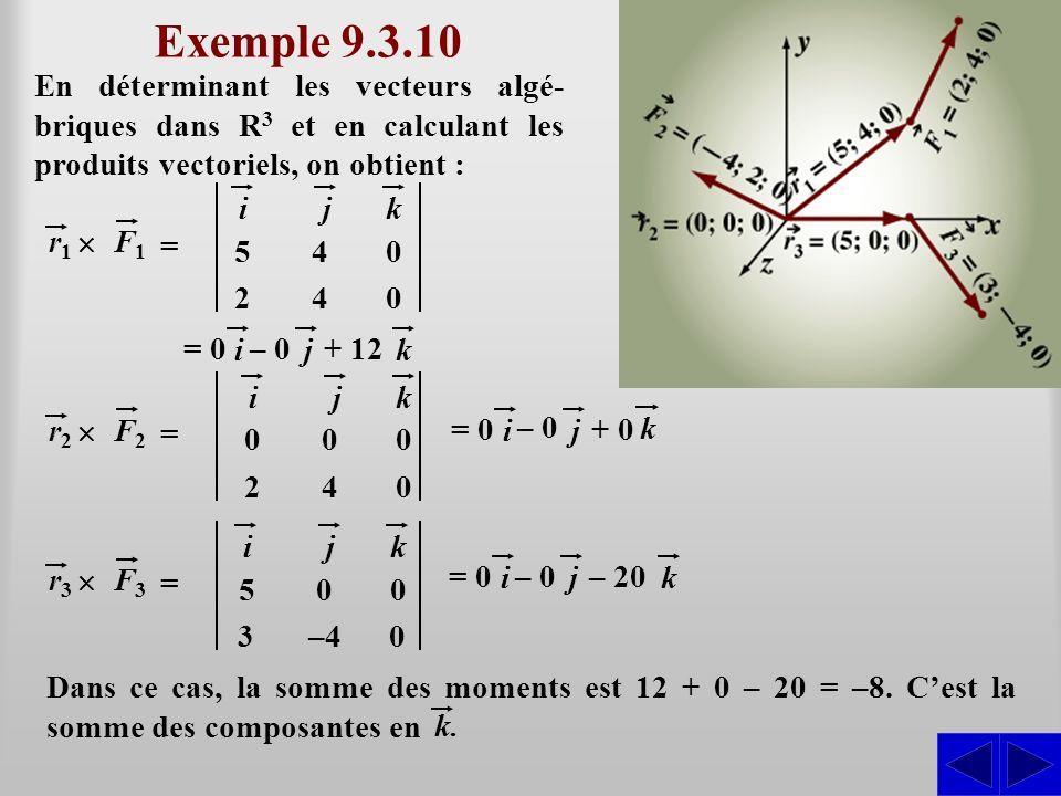 Exemple 9.3.10 En déterminant les vecteurs algé-briques dans R3 et en calculant les produits vectoriels, on obtient :