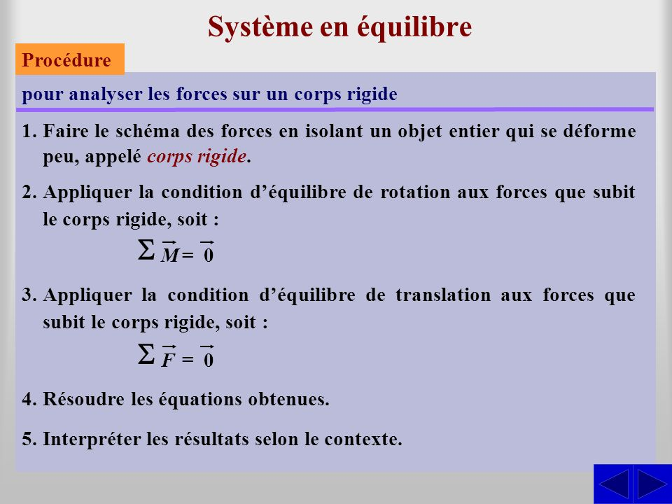 Système en équilibre S S Procédure