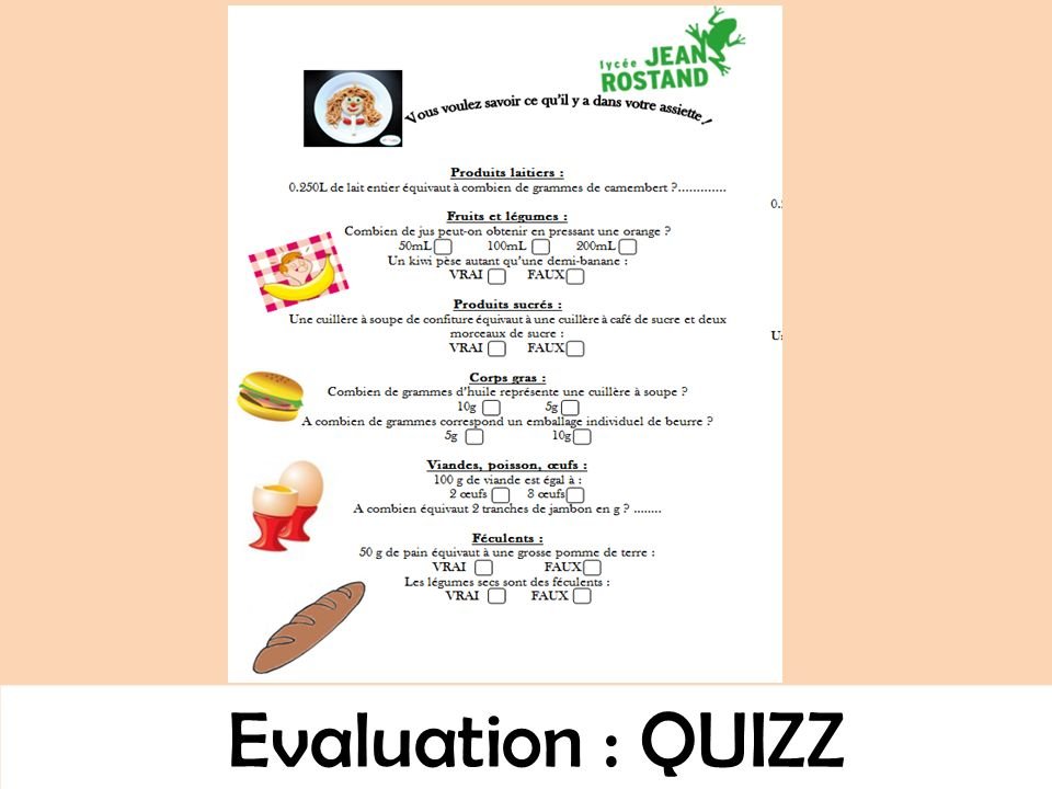 Evaluation : QUIZZ