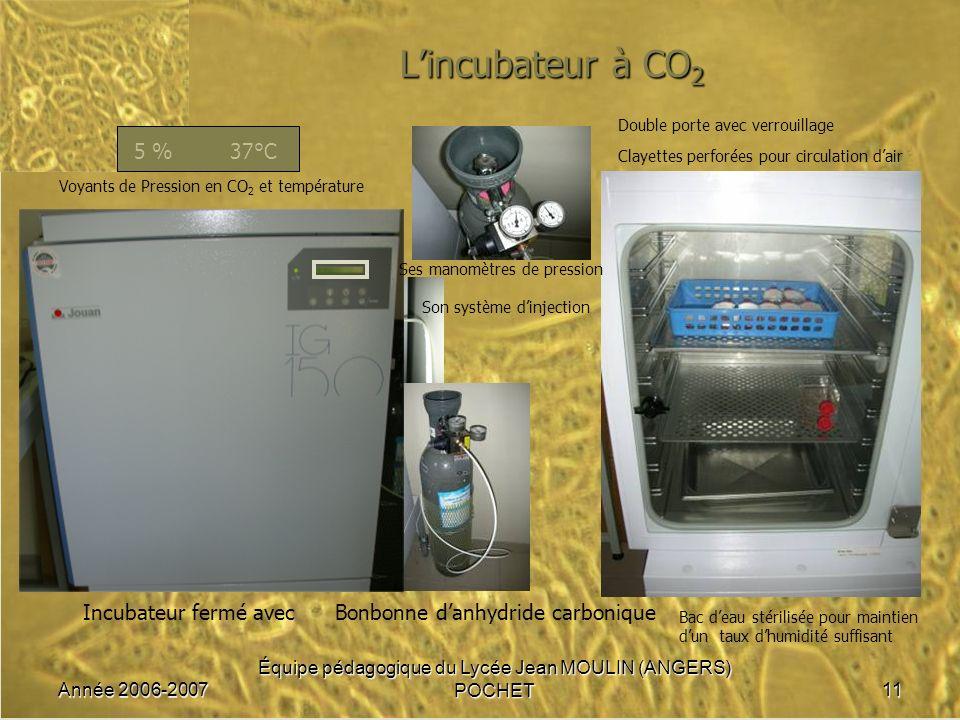 L'incubateur à CO2 5 % 37°C Incubateur fermé avec