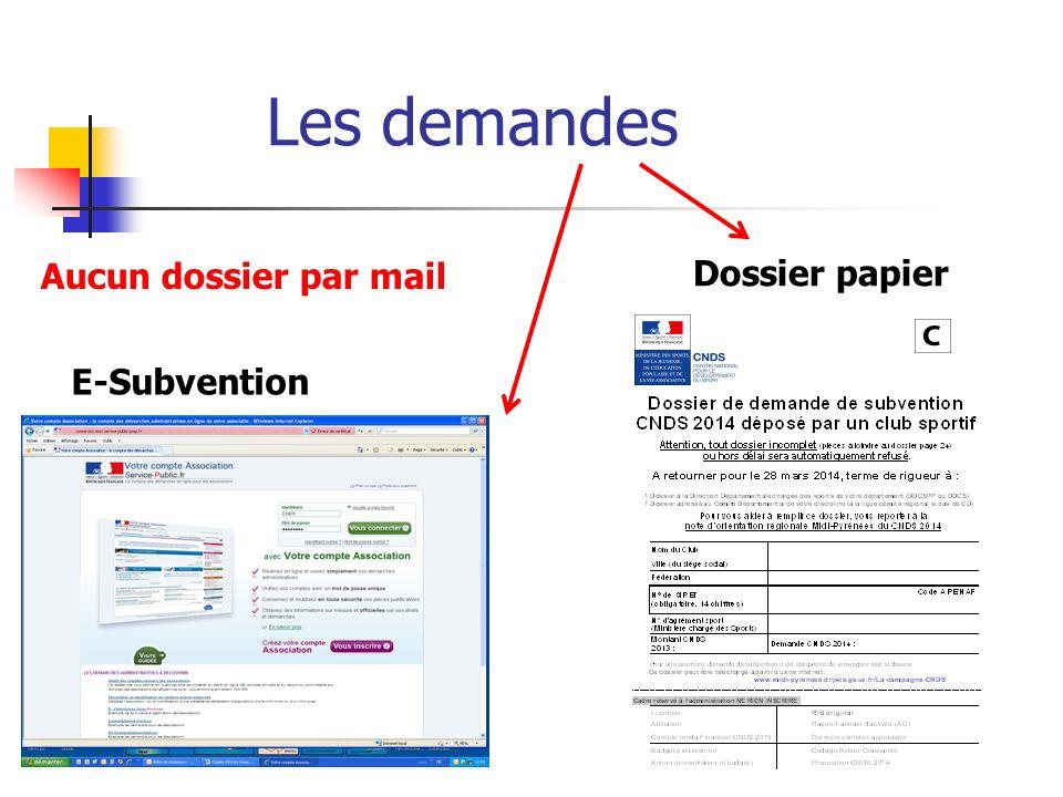 Les demandes Aucun dossier par mail Dossier papier E-Subvention
