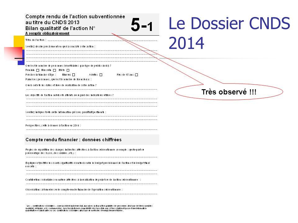 Le Dossier CNDS 2014 Très observé !!!