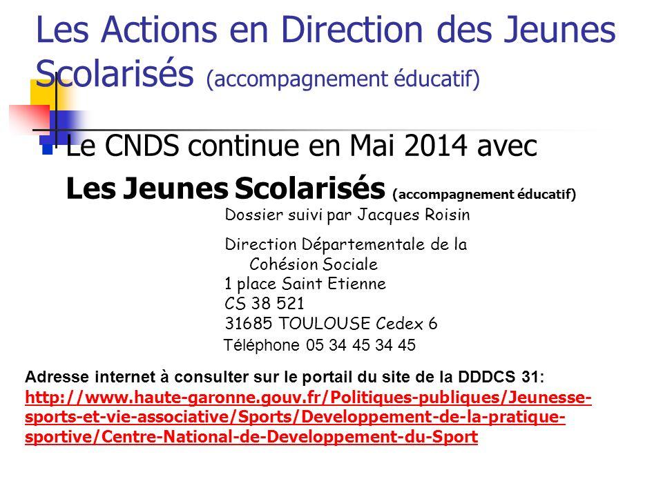 Les Actions en Direction des Jeunes Scolarisés (accompagnement éducatif)