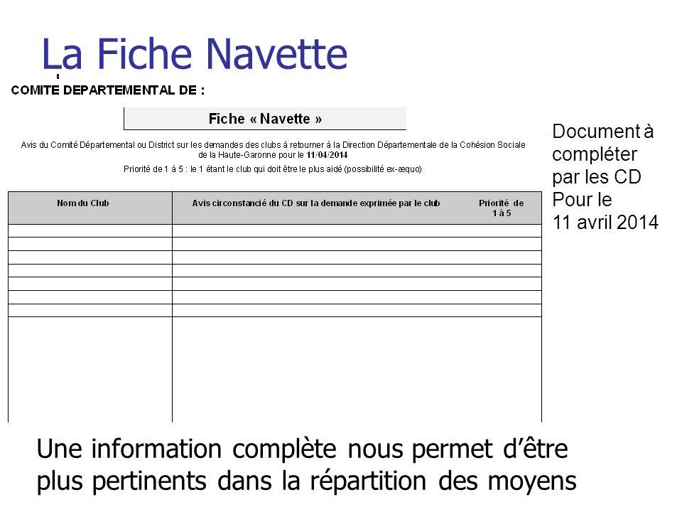 La Fiche Navette Document à compléter. par les CD. Pour le. 11 avril 2014.