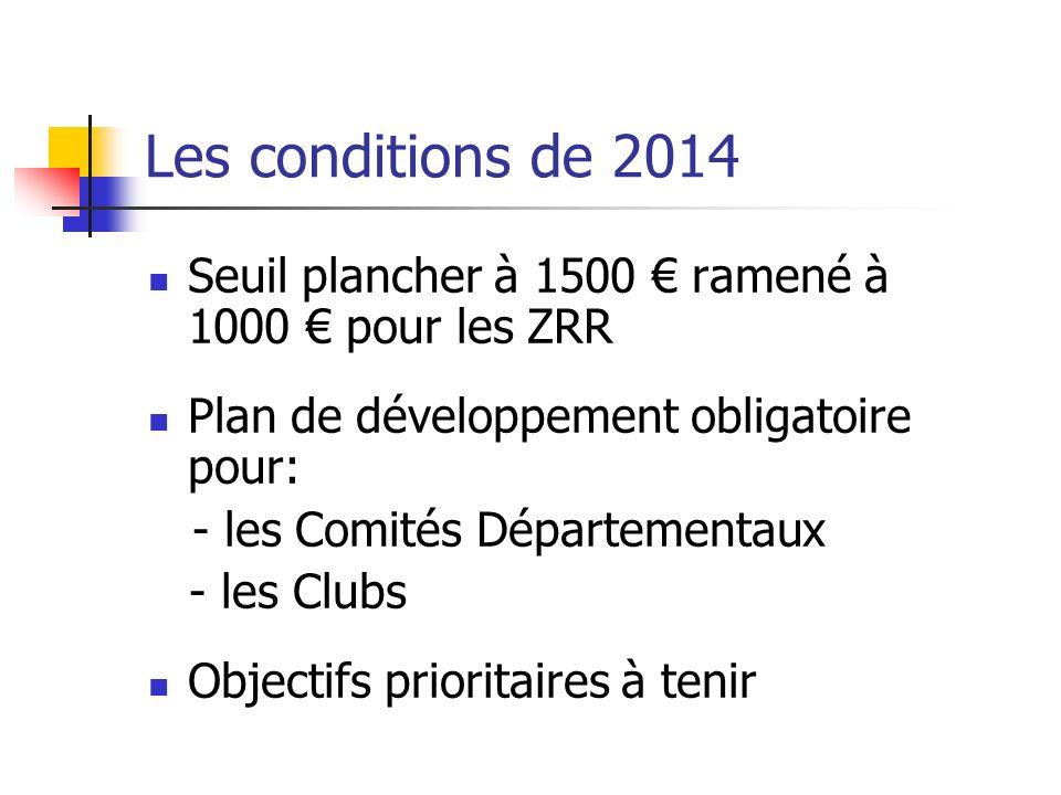 Les conditions de 2014 Seuil plancher à 1500 € ramené à 1000 € pour les ZRR. Plan de développement obligatoire pour: