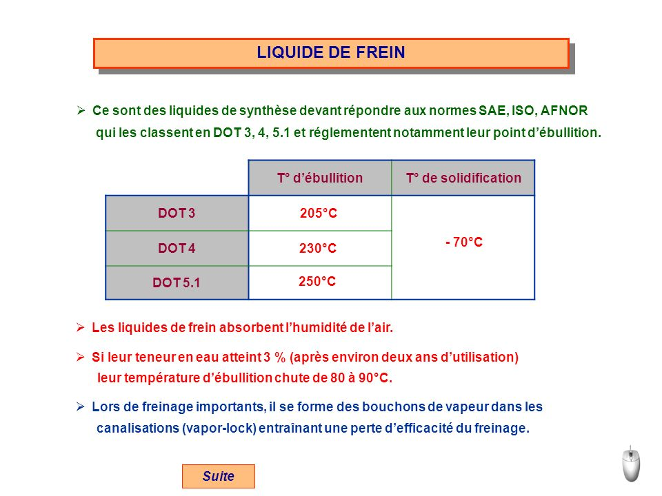 LIQUIDE DE FREIN Ce sont des liquides de synthèse devant répondre aux normes SAE, ISO, AFNOR.