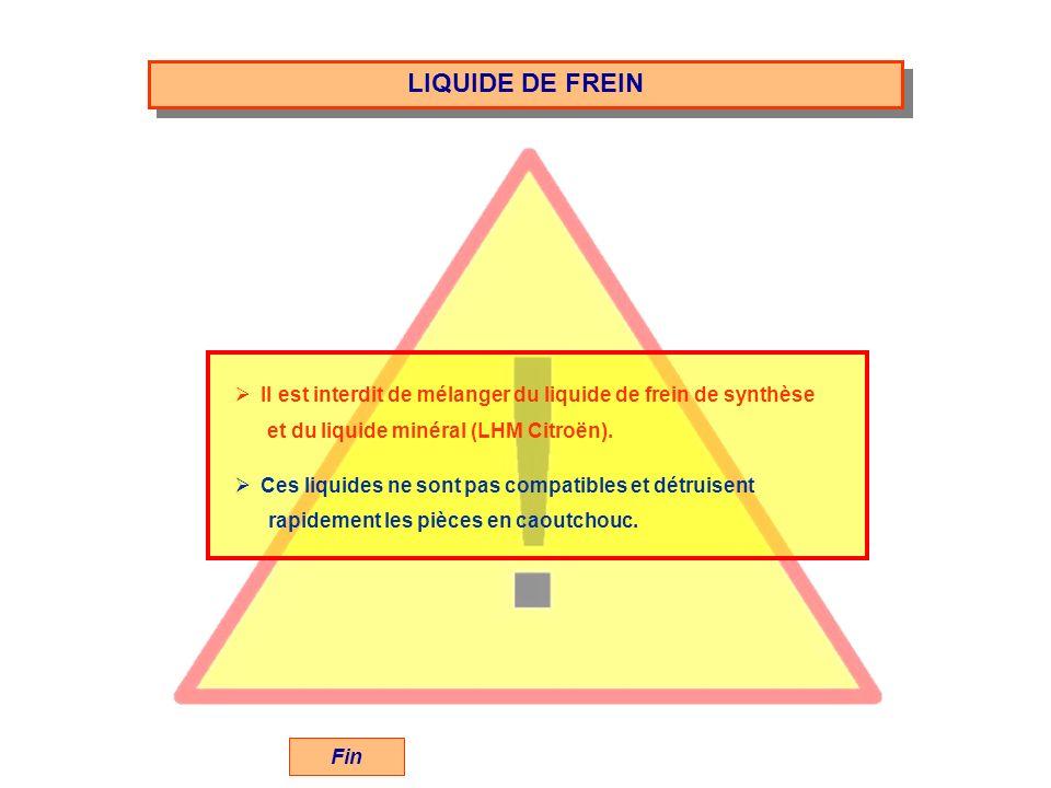LIQUIDE DE FREIN Il est interdit de mélanger du liquide de frein de synthèse. et du liquide minéral (LHM Citroën).