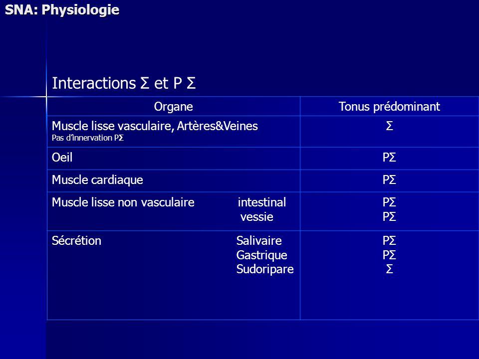 Interactions Σ et P Σ SNA: Physiologie Organe Tonus prédominant