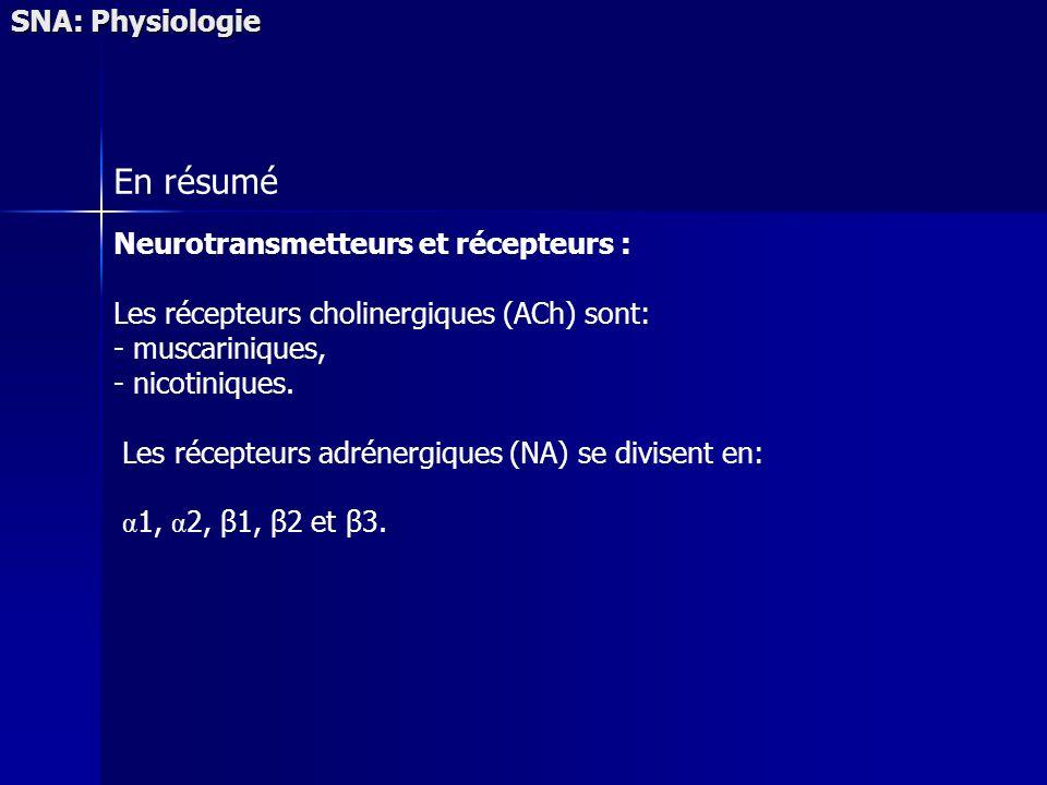 En résumé SNA: Physiologie Neurotransmetteurs et récepteurs :