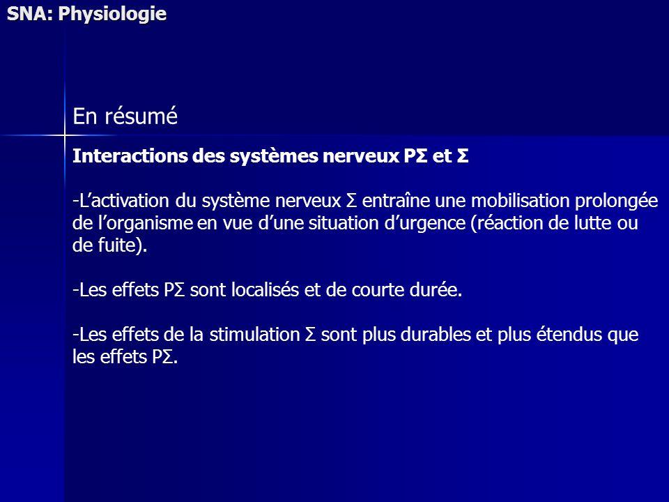 En résumé SNA: Physiologie Interactions des systèmes nerveux PΣ et Σ