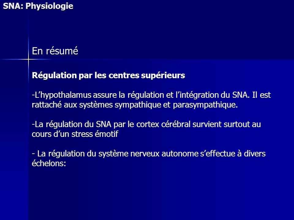 En résumé SNA: Physiologie Régulation par les centres supérieurs