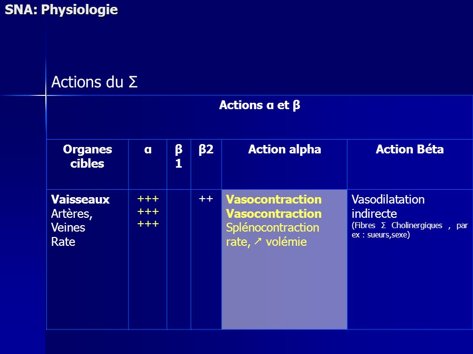 Actions du Σ SNA: Physiologie Actions α et β Organes cibles α β1 β2