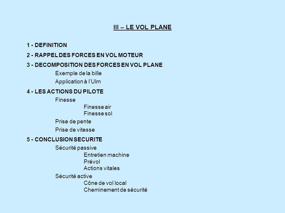 III – LE VOL PLANE 1 - DEFINITION 2 - RAPPEL DES FORCES EN VOL MOTEUR