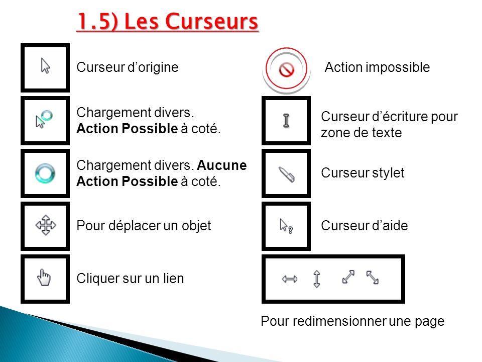1.5) Les Curseurs Curseur d'origine Action impossible