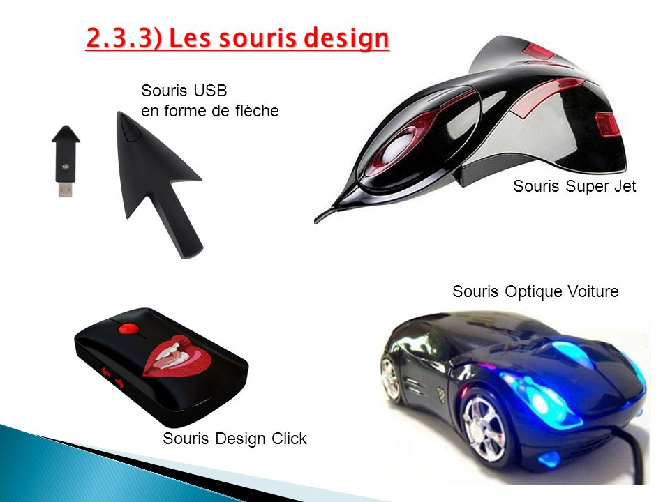 2.3.3) Les souris design Souris USB en forme de flèche