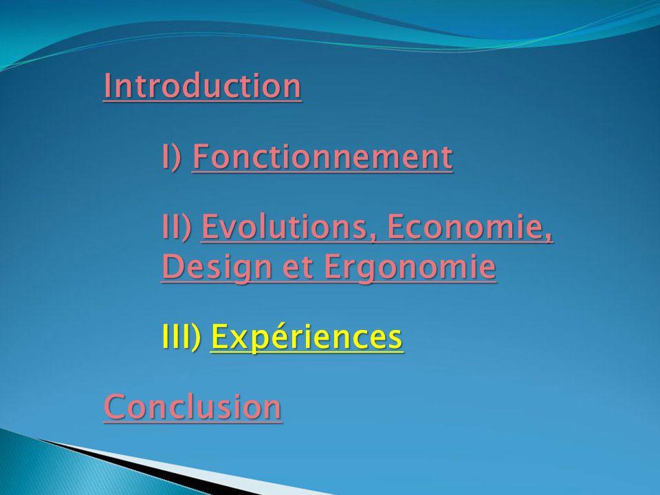 Introduction I) Fonctionnement. II) Evolutions, Economie, Design et Ergonomie. III) Expériences.