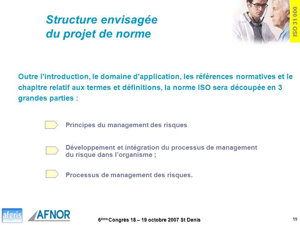 Structure envisagée du projet de norme