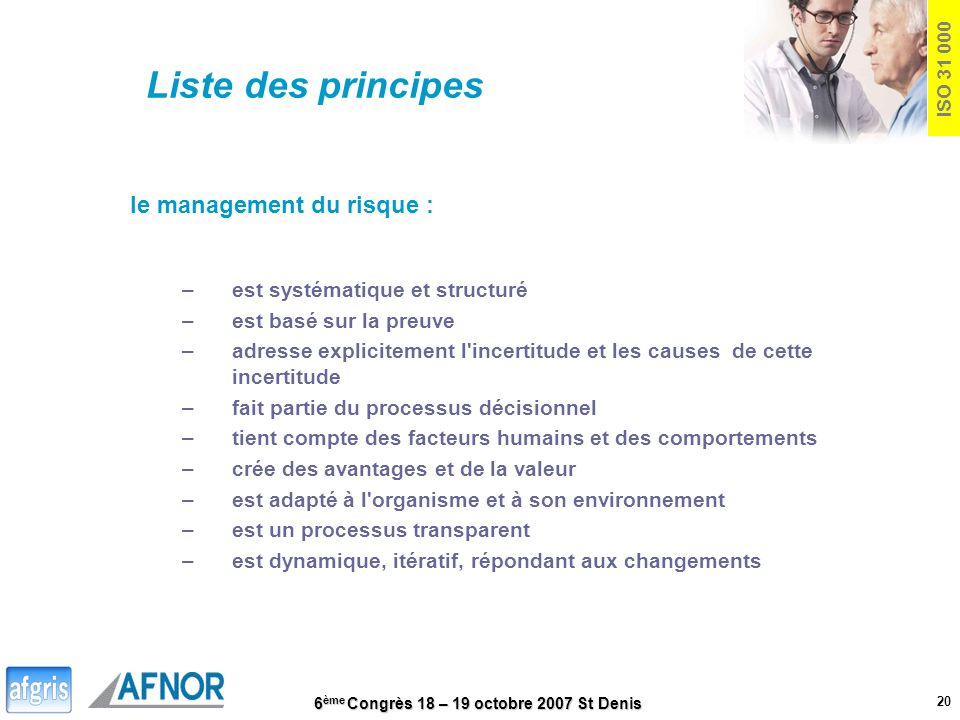 Liste des principes le management du risque :