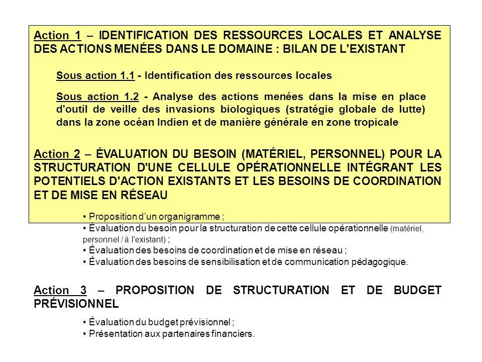 Action 3 – PROPOSITION DE STRUCTURATION ET DE BUDGET PRÉVISIONNEL