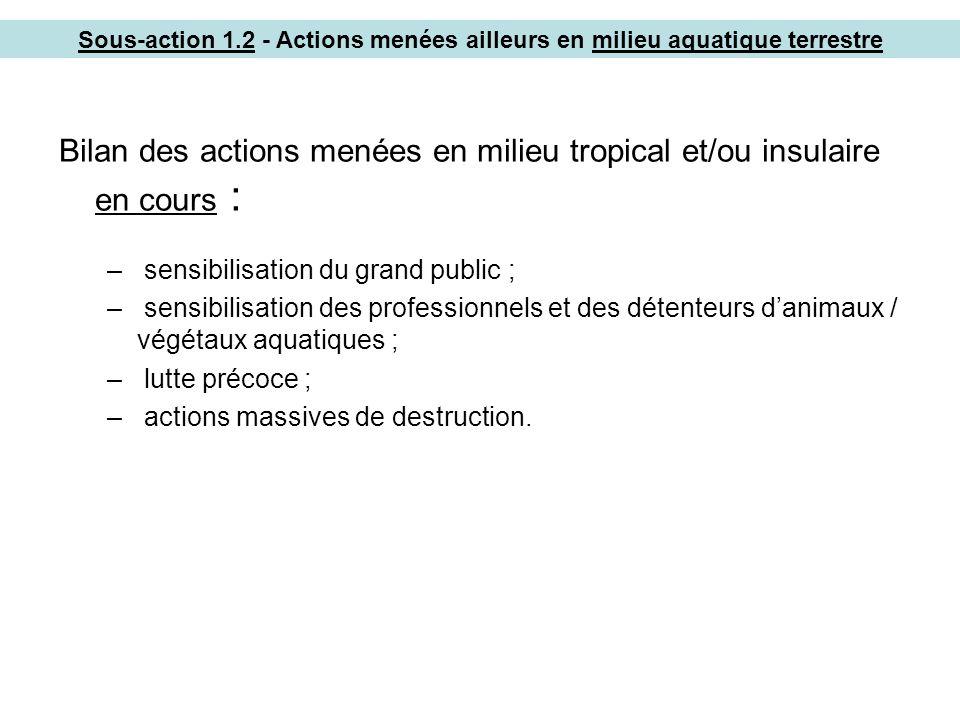Bilan des actions menées en milieu tropical et/ou insulaire en cours :