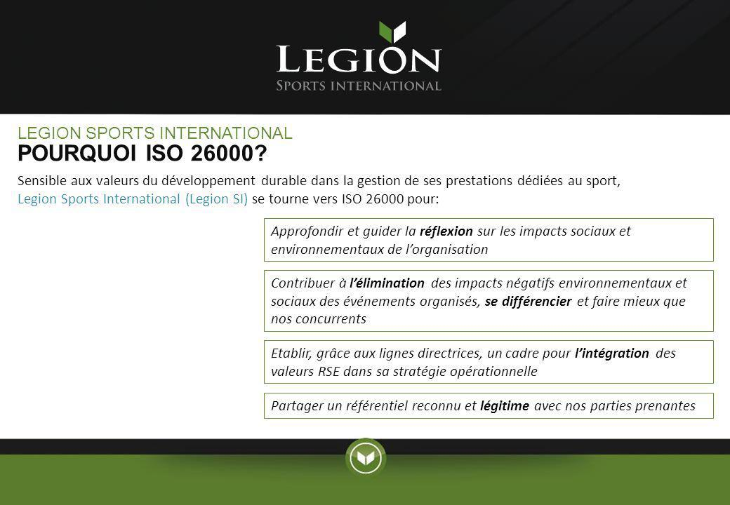 POURQUOI ISO 26000 LEGION SPORTS INTERNATIONAL