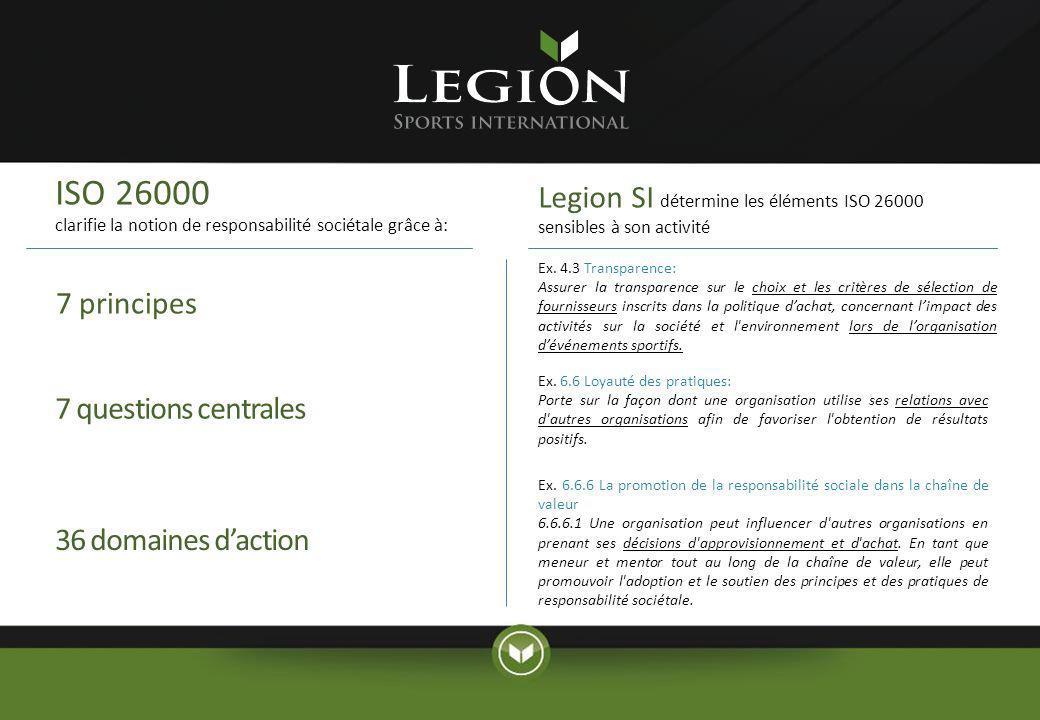 ISO 26000 clarifie la notion de responsabilité sociétale grâce à: Legion SI détermine les éléments ISO 26000 sensibles à son activité.