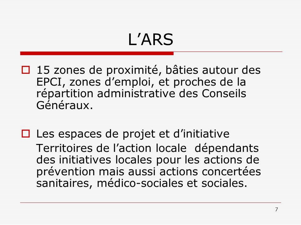L'ARS 15 zones de proximité, bâties autour des EPCI, zones d'emploi, et proches de la répartition administrative des Conseils Généraux.