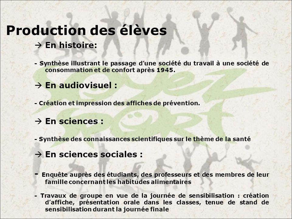 Production des élèves En histoire: En audiovisuel : En sciences :