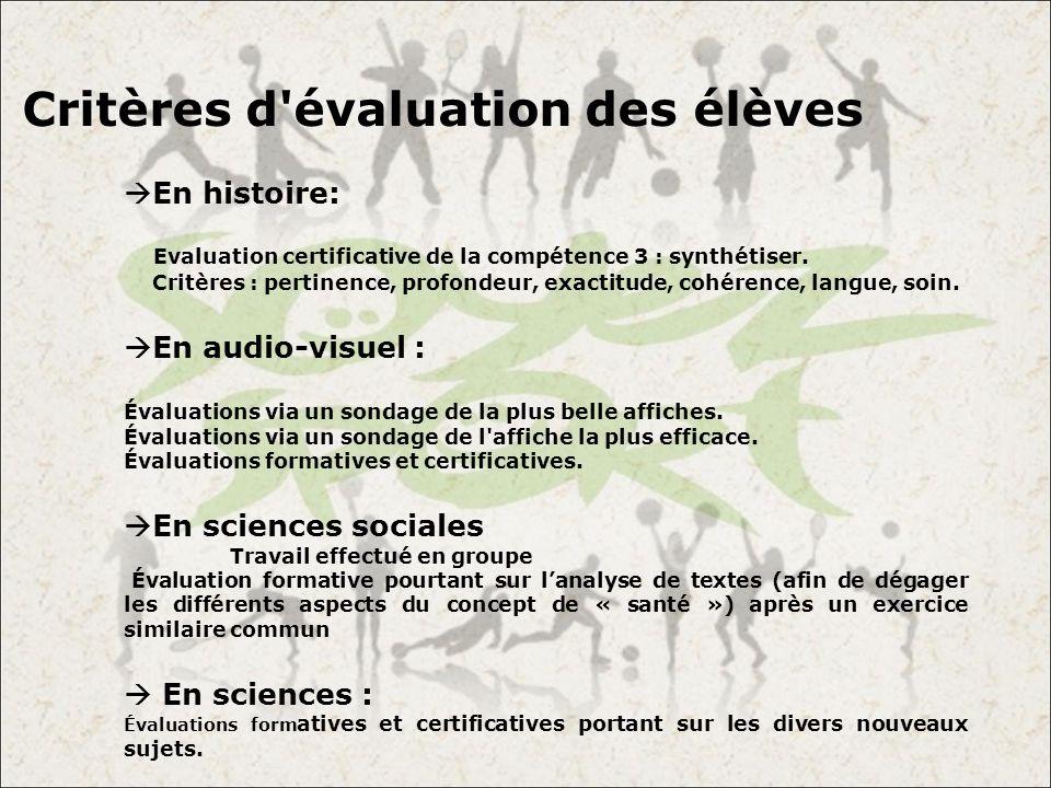 Critères d évaluation des élèves