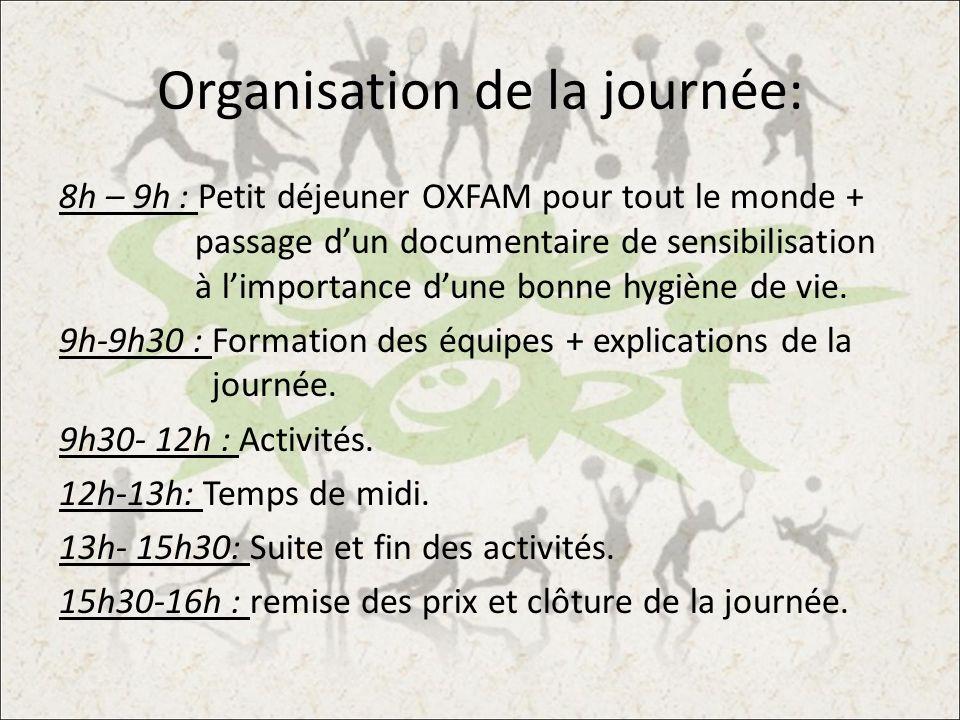 Organisation de la journée: