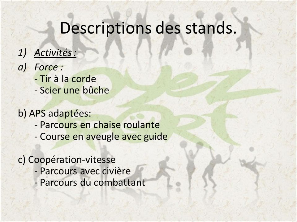 Descriptions des stands.
