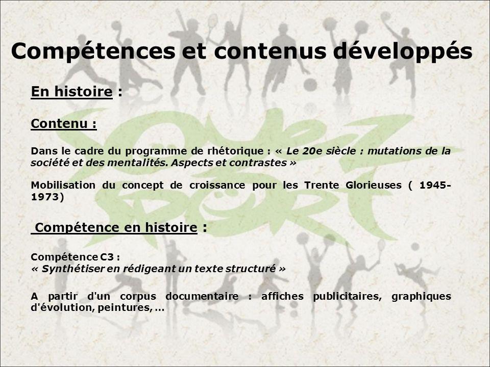 Compétences et contenus développés