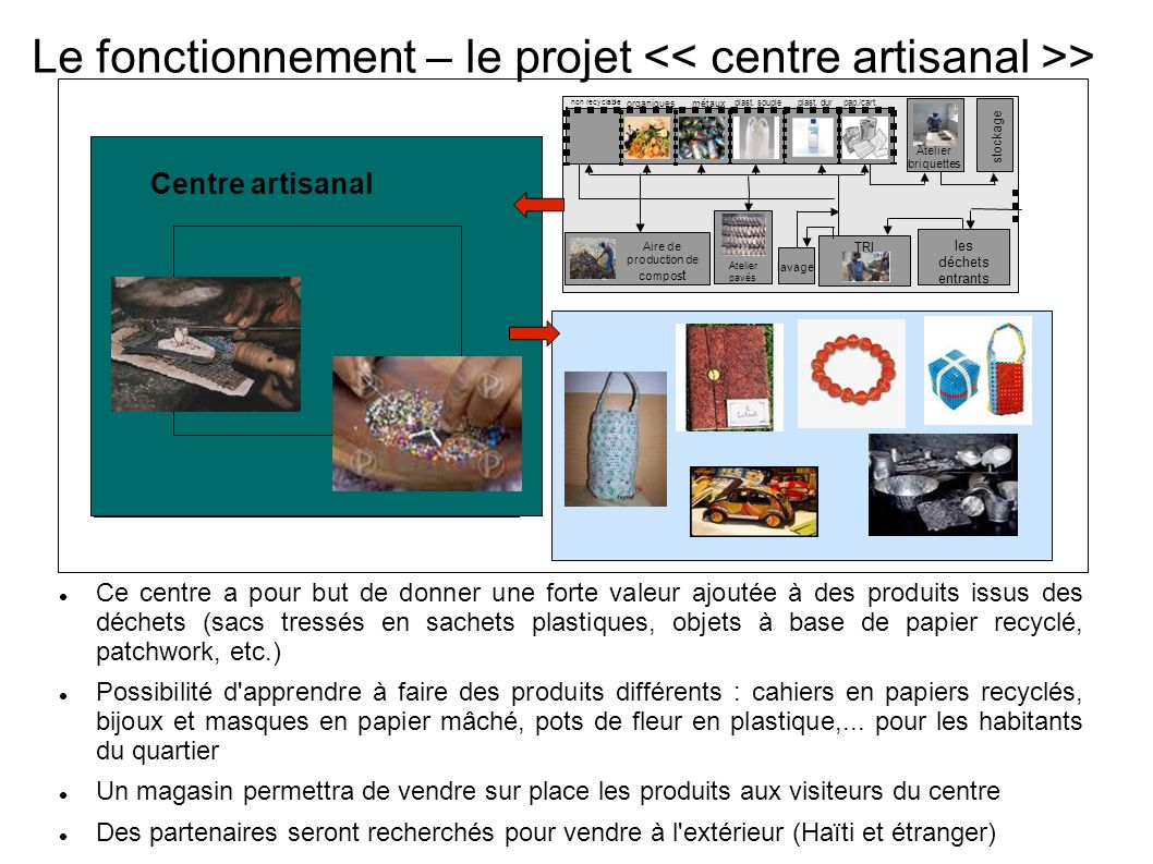 Le fonctionnement – le projet << centre artisanal >>