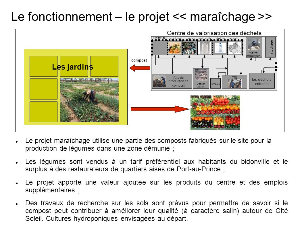 Le fonctionnement – le projet << maraîchage >>