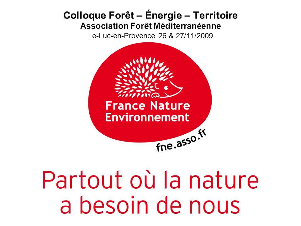 Colloque Forêt – Énergie – Territoire Association Forêt Méditerranéenne Le-Luc-en-Provence 26 & 27/11/2009